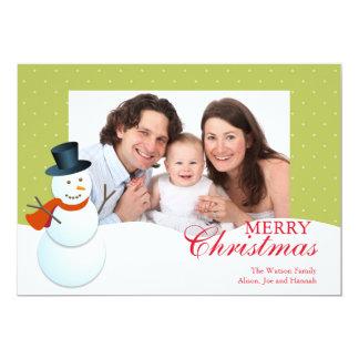 Friendly snowman north pole green Christmas photo 13 Cm X 18 Cm Invitation Card