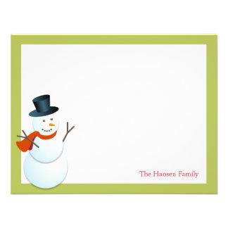 Friendly snowman north pole green xmas thank you invite