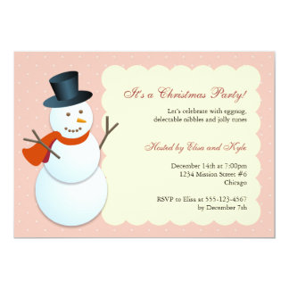 Friendly snowman north pole pink Christmas party Card