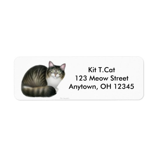 Friendly Tabby Cat Avery Label
