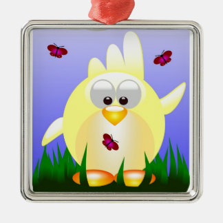 Friendly waving Easter Chick Christmas Ornament