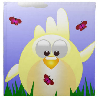 Friendly waving Easter Chick Napkin