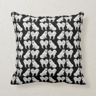 Friendly White Samoyed Dogs Pillow Cushions
