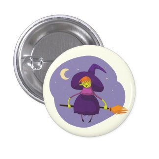 Friendly witch flying on broom at night halloween 3 cm round badge