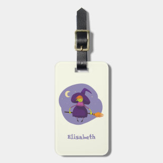 Friendly witch flying on broom at night halloween bag tag