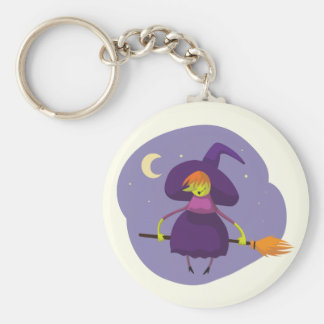 Friendly witch flying on broom at night halloween basic round button key ring