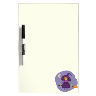 Friendly witch flying on broom at night halloween dry erase board