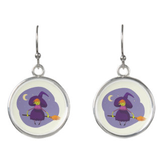 Friendly witch flying on broom at night halloween earrings