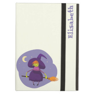 Friendly witch flying on broom at night halloween iPad air cover