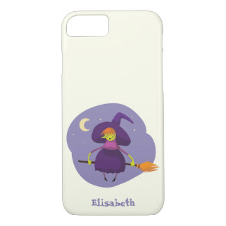 Friendly witch flying on broom at night halloween iPhone 8/7 case