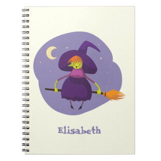 Friendly witch flying on broom at night halloween notebooks