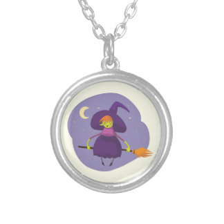 Friendly witch flying on broom at night halloween round pendant necklace