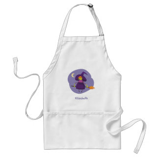 Friendly witch flying on broom at night halloween standard apron