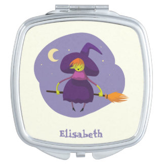 Friendly witch flying on broom halloween name compact mirror