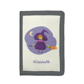 Friendly witch flying on broom halloween name kids trifold wallets