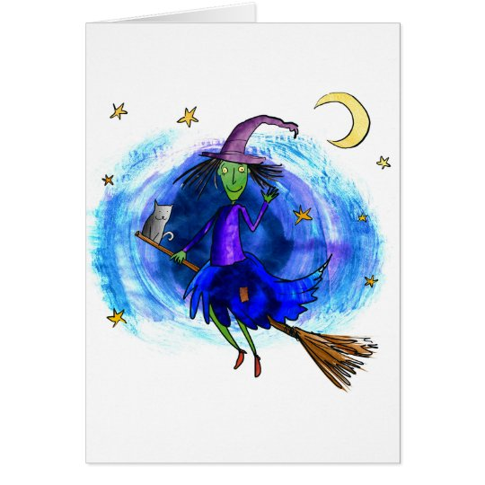 Friendly Witch with her Cat Card