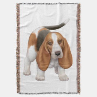 Friendly Young Basset Hound Dog Throw