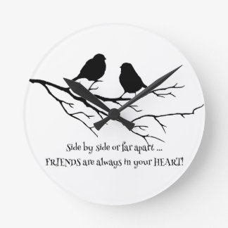 Friends always in your Heart Quote with Birds Clocks