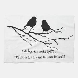 Friends always in your Heart Quote with Birds Tea Towel