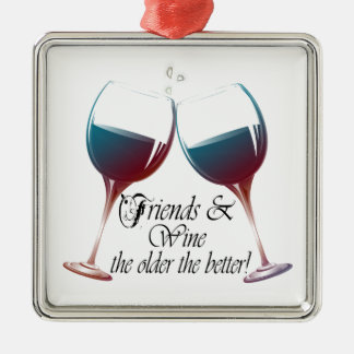 Friends and Wine, the older the better, Wine Gifts Christmas Ornament