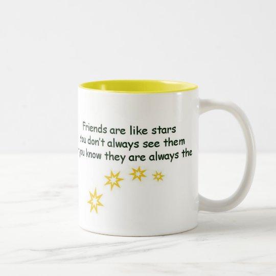 Friends are like stars Two-Tone coffee mug
