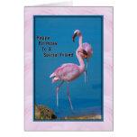 Friend's Birthday Card with Pink Flamingo