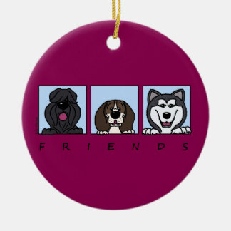 Friends: Bouvier, Beagle & Alaskan Malamute Round Ceramic Decoration
