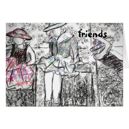 Friends Charcoal Drawing Collage Note Card