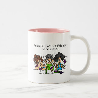 Friends don't let friends wine alone Two-Tone mug
