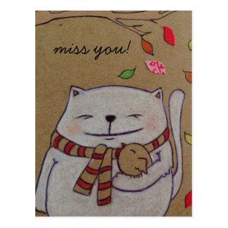 friends for life cute cat and bird hug postcard
