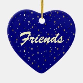Friends Forever Blue Golden Stars Heart Ornament