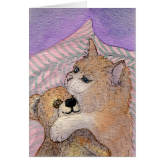 Friends Forever - Cat Hugs Bear Card