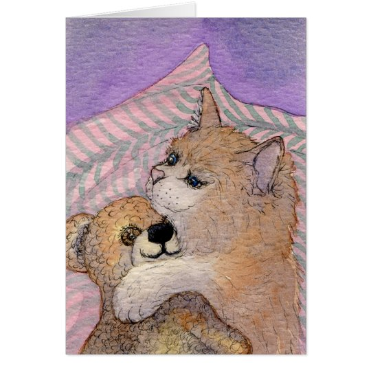 Friends Forever - Cat Hugs Bear Card