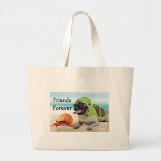 Friends Forever: Crab + Turtle Pug Jumbo Tote Bag