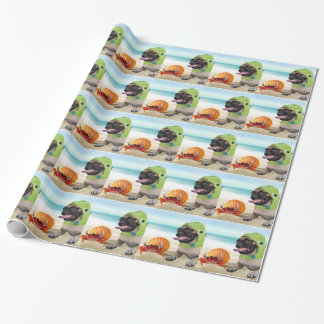 Friends Forever: Crab + Turtle Pug Wrapping Paper