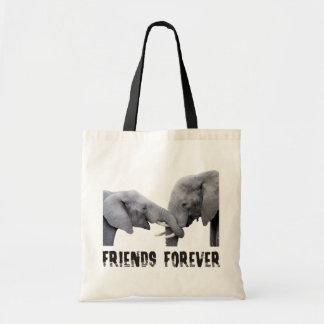 Friends Forever Elephants hugging / embracing Budget Tote Bag