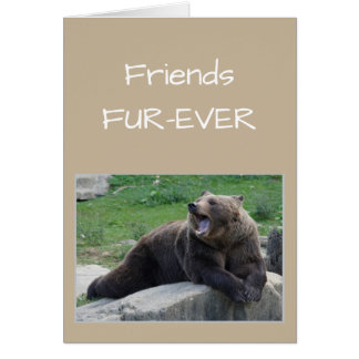 FRIENDS FOREVER OR Fur-ever Gossiping Bear Humor Greeting Card
