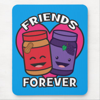 Friends Forever - Peanut Butter And Jelly Kawaii Mouse Pad