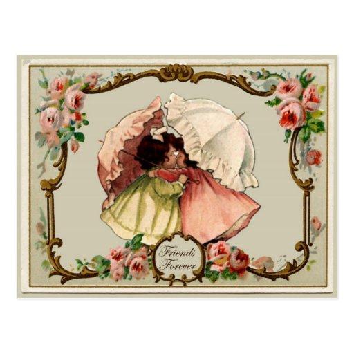 Friends Forever Vintage Reproduction Postcard