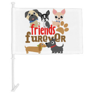 Friends Furever Dogs Puppies Car Flag