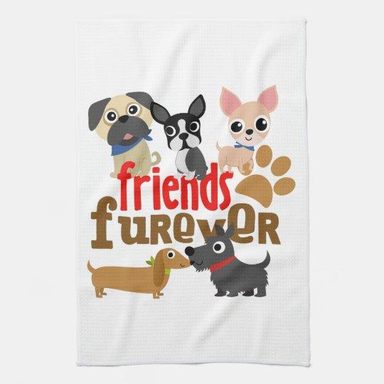 Friends Furever Dogs Puppies Tea Towel