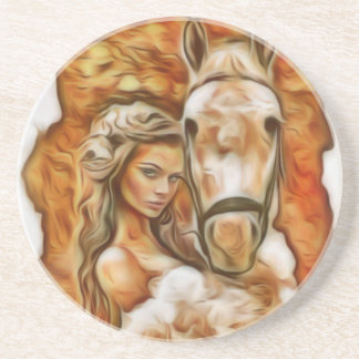 Friends Girl and Horse Drink Coaster