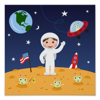 Friends in space, cute kids cartoon wall art