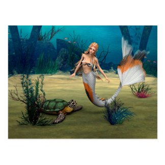 Friends Mermaid und Turtle Postcard