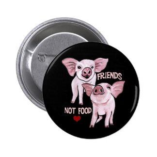 Friends not Food Cute Pigs Button
