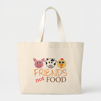 Friends Not Food Large Tote Bag
