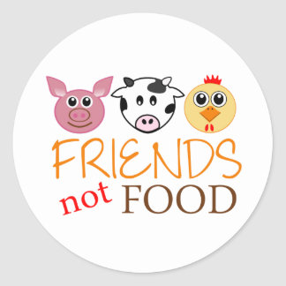 Friends Not Food Round Sticker