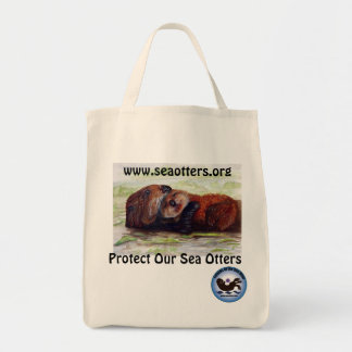 Friends of the Sea Otter Organic Cotton Tote Grocery Tote Bag