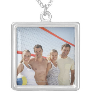 Friends on beach volleyball court silver plated necklace