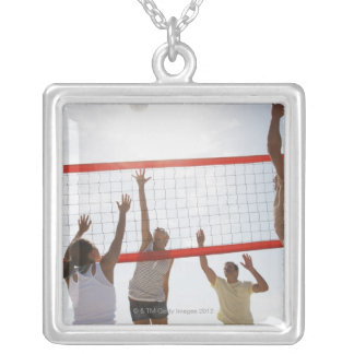 Friends playing volleyball silver plated necklace